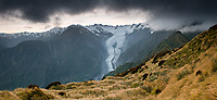 Dawn over Franz Josef Glacier, West Coast, South Island, Westland Tai Poutini National Park, UNESCO World Heritage Area, New Zealand, NZ