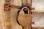 A view of an old pad lock in the colonial Williamsburg Virginia.