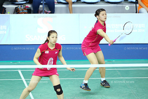 Ayaka Takahashi &amp; Misaki Matsutomo (JPN), <br /> SEPTEMBER 20, 2014 - Badminton : <br /> Women's Team quarter final<br /> at Gyeyang Gymnasium <br /> during the 2014 Incheon Asian Games in Incheon, South Korea. <br /> (Photo by Shingo Ito/AFLO SPORT) [1195]