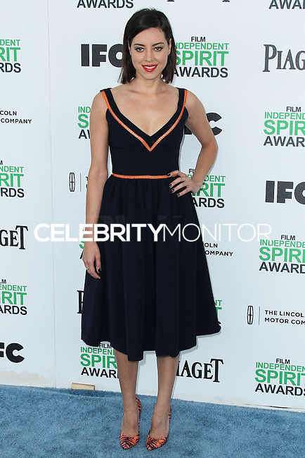 SANTA MONICA, CA, USA - MARCH 01: Aubrey Plaza at the 2014 Film Independent Spirit Awards held at Santa Monica Beach on March 1, 2014 in Santa Monica, California, United States. (Photo by Xavier Collin/Celebrity Monitor)