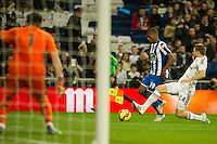 Real Madrid´s Iker Casillas and Asier Illarramendi and Deportivo de la Coruna's Ivan Cavaleiro during 2014-15 La Liga match between Real Madrid and Deportivo de la Coruna at Santiago Bernabeu stadium in Madrid, Spain. February 14, 2015. (ALTERPHOTOS/Luis Fernandez) /NORTEphoto.com