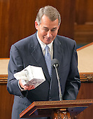 The Speaker of the United States House of Representatives John Boehner (Republican of Ohio) shows off his box of tissues as he prepares to speak to his colleagues from the well of the US House to announce his resignation in the US House Chamber in the US Capitol in Washington, DC on October 29, 2015.<br /> Credit: Ron Sachs / CNP
