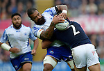 ENG - Newcastle upon Tyne, England, October 10: During the Pool B rugby match between Samoa (white) and Scotland (blue) on October 10, 2015 at St. James Park in Newcastle upon Tyne, England.  (Photo by Dirk Markgraf / www.265-images.com) *** Local caption *** Ross Ford #2 of Scotland tackles Faifili Levave #19 of Samoa