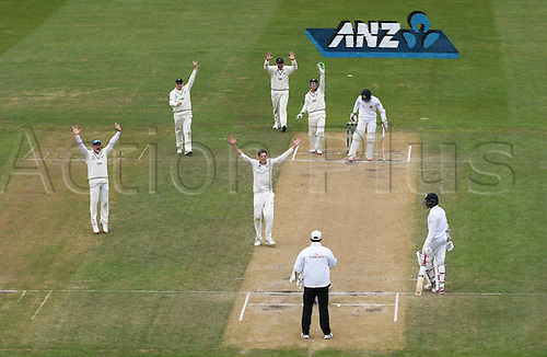 14.12.2015. Dunedin, New Zealand.  Mitchell Santner appeals successfully for a LBW decision to dismiss Chandimal during play on day 5 of the 1st cricket test match between New Zealand Black Caps and Sri Lanka at University Oval, Dunedin, New Zealand. Monday 14 December 2015.