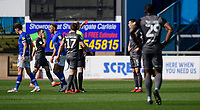 Lincoln City's Jason Shackell is shown a red card by referee Lee Mason<br /> <br /> Photographer Chris Vaughan/CameraSport<br /> <br /> The EFL Sky Bet League Two - Carlisle United v Lincoln City - Friday 19th April 2019 - Brunton Park - Carlisle<br /> <br /> World Copyright © 2019 CameraSport. All rights reserved. 43 Linden Ave. Countesthorpe. Leicester. England. LE8 5PG - Tel: +44 (0) 116 277 4147 - admin@camerasport.com - www.camerasport.com