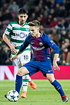 Denis Suarez Fernandez of FC Barcelona in action as Alan Ruiz of Sporting CP looks on during the UEFA Champions League 2017-18 match between FC Barcelona and Sporting CP at Camp Nou on 05 December 2017 in Barcelona, Spain. Photo by Vicens Gimenez / Power Sport Images