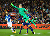 9th September 2017, Camp Nou, Barcelona, Spain; La Liga football, Barcelona versus Espanyol; Great clearing punch from Barca keeper Ter Stegen