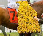 BALTIMORE, MD,  MAY 19: Justify, #7, ridden by Mike Smith, wins the 143rd Preakness Stakes at Pimlico Racecource on May 18, 2018 in Baltimore, Maryland. (Photo by Sue Kawczynski/Eclipse Sportswire/Getty Images)