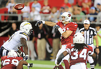Aug. 22, 2009; Glendale, AZ, USA; Arizona Cardinals quarterback (13) Kurt Warner throws a pass in the first quarter against the San Diego Chargers during a preseason game at University of Phoenix Stadium. Mandatory Credit: Mark J. Rebilas-