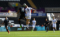 SWANSEA, WALES - MARCH 25: Diogo Verdasca of Porto and Oli McBurnie of Swansea City contend for the aerial  ball during the Premier League International Cup Semi Final match between Swansea City and Porto at The Liberty Stadium on March 25, 2017 in Swansea, Wales. (Photo by Athena Pictures)