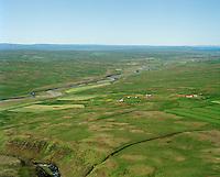 Barkarstaðir séð til norðvesturs. Eyðibýlið Litli-Hvammur áður Spena efst í hlíðinni á moti i vinstri kant myndarinnar.  Húnaþing vestra áður Fremri-Torfustaðahreppur  /  Barkarstadir viewing northwest. The deserted farmsite Litli-Hvammur former namerÞ: Spena, in the slopes in the very left side of the picture.  Hunathing vestra former Fremri-Torfustadahreppur.