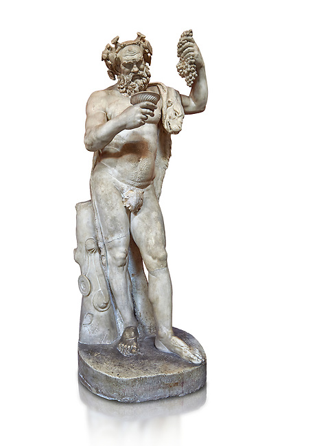 1st century AD Roman statue of Silenus pouring wine from a jug. The head is from the Flavian period and the body 1st century. A copy of an earlier Hwellenistic sculpture by the school of Lysippus, inv 323, Vatican Museum Rome, Italy,  white background