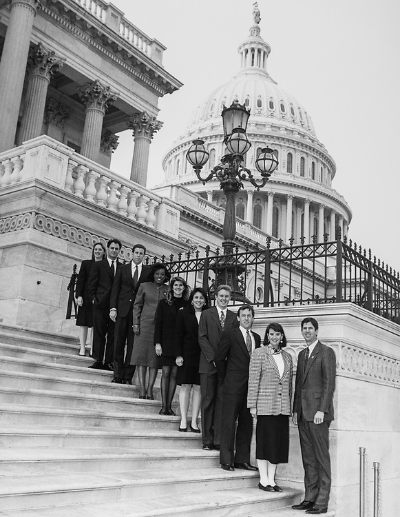 Rep. Cal Dooley, D-Calif., with staff members on the Capitol Hill. (Photo by CQ Roll Call via Getty Images)