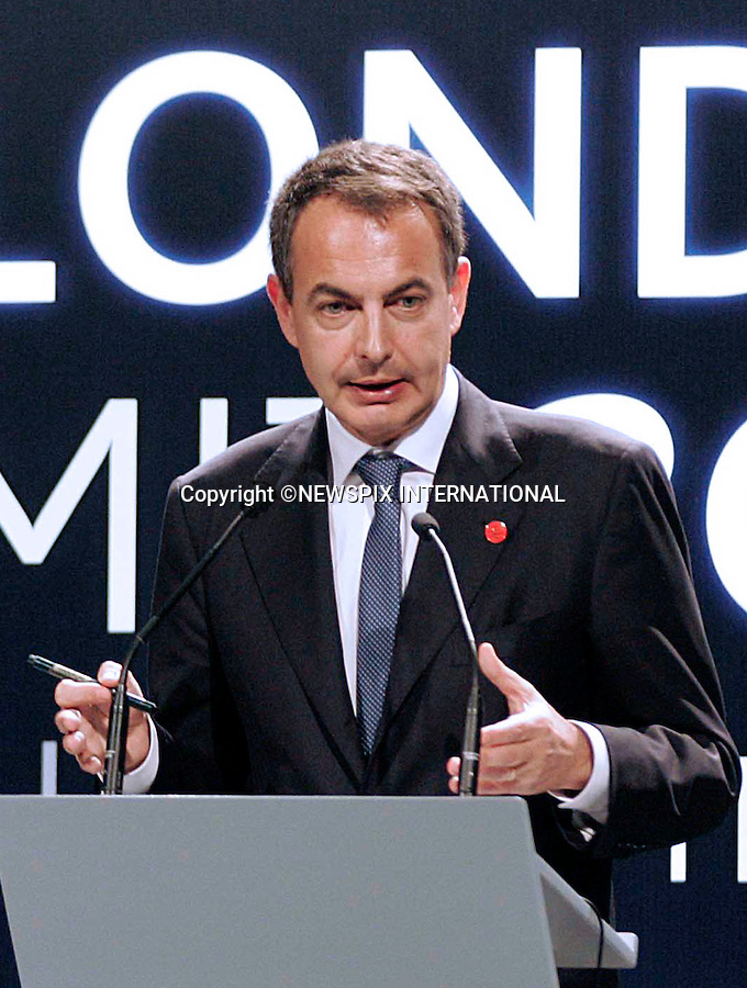 """PRIME MINISTER JOSE LUIS ZAPATERO.gives a press conference at the end of the G20 Summit, Excel Centre, London_02/04/2009.Photo: Newspix International..**ALL FEES PAYABLE TO: """"NEWSPIX INTERNATIONAL""""**..PHOTO CREDIT MANDATORY!!: NEWSPIX INTERNATIONAL(Failure to credit will incur a surcharge of 100% of reproduction fees)..IMMEDIATE CONFIRMATION OF USAGE REQUIRED:.Newspix International, 31 Chinnery Hill, Bishop's Stortford, ENGLAND CM23 3PS.Tel:+441279 324672  ; Fax: +441279656877.Mobile:  0777568 1153.e-mail: info@newspixinternational.co.uk"""