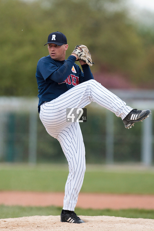 25 April 2010: Giovanni Ouin of Rouen pitches against the PUC during game 2/week 3 of the French Elite season won 12-0 by Rouen over the PUC, at the Pershing Stadium in Vincennes, near Paris, France.
