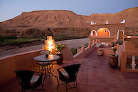 The patio of the Defat Kasbah overlooks the Atlas mountains that surround the Ait Ben Haddou world heritage site north of Ouarzazate.