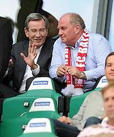 FUSSBALL   1. BUNDESLIGA   SAISON 2011/2012    2. SPIELTAG VfL Wolfsburg - FC Bayern Muenchen      13.08.2011 Karl HOPFNER (li) und Uli HOENESS (re, beide Bayern) auf der Tribuene