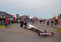 Jun 9, 2019; Topeka, KS, USA; Crew members for NHRA top fuel driver Steve Torrence during the Heartland Nationals at Heartland Motorsports Park. Mandatory Credit: Mark J. Rebilas-USA TODAY Sports