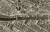historical aerial map of the Bronx, New York City, New York, 1954