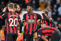 Ryan Fraser of AFC Bournemouth right is congratulated after scoring the second goal during AFC Bournemouth vs Huddersfield Town, Premier League Football at the Vitality Stadium on 4th December 2018
