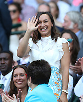 Athlete Jessica Ennis-Hill in the Royal box on Centre Court <br /> <br /> Photographer Rob Newell/CameraSport<br /> <br /> Wimbledon Lawn Tennis Championships - Day 6 - Saturday 7th July 2018 -  All England Lawn Tennis and Croquet Club - Wimbledon - London - England<br /> <br /> World Copyright &not;&copy; 2017 CameraSport. All rights reserved. 43 Linden Ave. Countesthorpe. Leicester. England. LE8 5PG - Tel: +44 (0) 116 277 4147 - admin@camerasport.com - www.camerasport.com