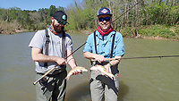 NWA Democrat-Gazette/FLIP PUTTHOFF <br /> Jonathan Gathright (left) and Tomek Siwiec caught several doubles April 26 2018 while fly fishing for redhorse suckers.