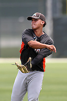 Miami Marlins Jhiomar Veras #92 during an extended Spring Training game against the New York Mets at the Roger Deam Complex on May 1, 2012 in Jupiter, Florida.  (Mike Janes/Four Seam Images)