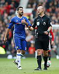 Diego Costa of Chelsea complains to referee Robert Madley during the English Premier League match at Old Trafford Stadium, Manchester. Picture date: April 16th 2017. Pic credit should read: Simon Bellis/Sportimage