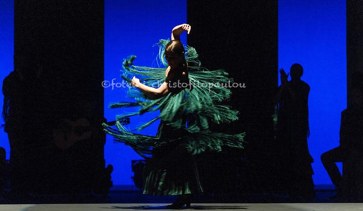 London, UK. 16.02.2016. Ballet Flamenco Sara Baras presents Voces, Suite Flamenca at Sadler's Wells as part of the Flamenco Festival London 2016. Photo shows: Sara Baras in Solea pro buleria. Photo - © Foteini Christofilopoulou.