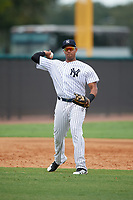 New York Yankees Dermis Garcia (31) throws to first base during an Instructional League game against the Pittsburgh Pirates on September 29, 2017 at the Yankees Minor League Complex in Tampa, Florida.  (Mike Janes/Four Seam Images)