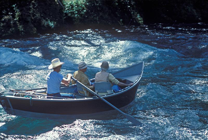 McKenzie River Drift Boat and fly fishermen on McKenzie River, Oregon