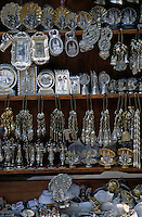 Silver religious crafts on stalls, Santiago de Compostela, Spain.