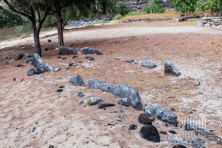 Ancient Hawaiian navigational stones in Nualolo Kai village, Na Pali Coast, Kaua'i