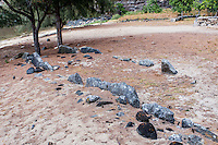 Ancient Hawaiian navigational stones in Nualolo Kai village, Na Pali Coast, Kaua'i