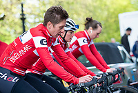 Picture by Allan McKenzie/SWpix.com - 17/05/2018 - Cycling - OVO Energy Tour Series Womens Race - Round 2:Aberdeen - Nicola Juniper and team NJC Biemme Echelon warm up.