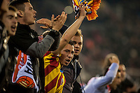 VALENCIA, SPAIN - DECEMBER 5: Valencia Fans celebrating a goal during BBVA LEAGUE match between Valencia C.F. and FC Barcelona at Mestalla Stadium on December 5, 2015 in Valencia, Spain