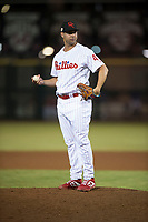 Scottsdale Scorpions relief pitcher Luke Leftwich (44), of the Philadelphia Phillies organization, during an Arizona Fall League game against the Mesa Solar Sox on October 9, 2018 at Scottsdale Stadium in Scottsdale, Arizona. The Solar Sox defeated the Scorpions 4-3. (Zachary Lucy/Four Seam Images)