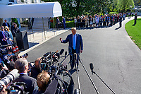 United States President Donald J. Trump makes remarks and answers questions from the media as he departs the South Lawn of the White House in Washington, DC for a day of activities in San Antonio, Texas and Houston, Texas on April 10, 2019.<br /> Credit: Ron Sachs / CNP/AdMedia