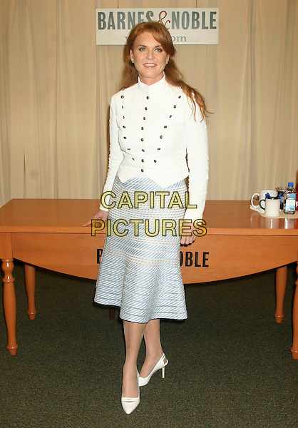 "SARAH FERGUSON - DUCHESS OF YORK .Signs her children's book ""Little Red's Summer Adventure"" at Barnes & Noble, New York, NY, USA. .June 27th, 2006.Ref: IW.full length fergie white top jacket brass buttons blue striped skirt shoes.www.capitalpictures.com.sales@capitalpictures.com.©Capital Pictures"