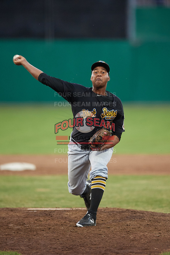 West Virginia Black Bears relief pitcher Miguel Hernandez (55) delivers a pitch during a game against the Batavia Muckdogs on July 3, 2018 at Dwyer Stadium in Batavia, New York.  Batavia defeated West Virginia 5-4.  (Mike Janes/Four Seam Images)