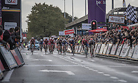 Dylan Groenewegen (NED/LottoNL-Jumbo) on his way to winning the bunch sprint of the Tour de l'Eurométropole 2016 (1.1) while 2nd Oliver Naesen (BEL/IAM) is being (deliberately?) boxed in by Groenewegen while nearing the finish line <br /> <br /> Poperinge › Tournai (196km)/ Belgium