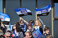 Bath supporters in the crowd enjoy the sunshine. Amlin Challenge Cup quarter-final, between Bath Rugby and Stade Francais on April 6, 2013 at the Recreation Ground in Bath, England. Photo by: Patrick Khachfe / Onside Images