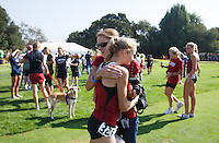 STANFORD, CA -- September 29, 2012: Kathy Kroeger gets a hug from her mom after winning the 39th running of the Stanford Invitational Saturday Morning at Stanford.