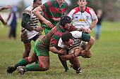 Mark Muir wrestles Sam Soane to ground. Counties Manukau Premier Semi-final rugby game between Manurew & Waiuku, played at Mountfort Park Manaurewa on Saturday 1st of August 2009..Waiuku won 23 - 3 and will meet Patumahoe in the final next week at Growers Stadium.
