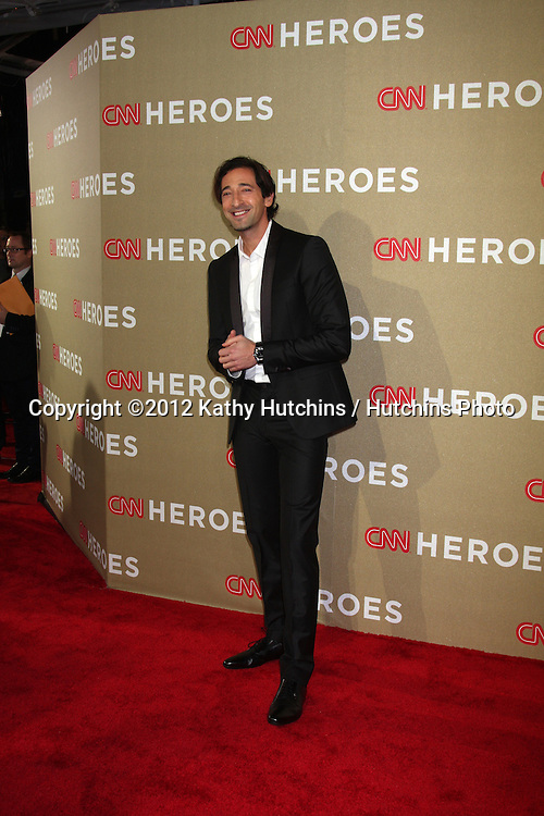LOS ANGELES - DEC 2:  Adrien Brody arrives to the 2012 CNN Heroes Awards at Shrine Auditorium on December 2, 2012 in Los Angeles, CA