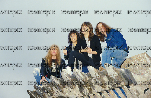 METALLICA - L-R: James Hetfield, Kirk Hammett, Lars Ulrich, Cliff Burton - Photosession in Paris - 18 Nov 1984.  Photo credit: Marc Villalonga/Dalle/IconicPix **AVAILABLE FOR UK ONLY**