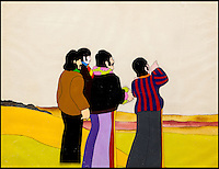 BNPS.co.uk (01202 558833)<br /> Pic: HeritageAuctions/BNPS<br /> <br /> ***Please use full byline***<br /> <br /> Original cartoon artwork of the Fab Four arriving in Pepperland.<br /> <br /> All aboard - A psychedelic snapshot of the swinging sixties is coming up for auction...<br /> <br /> An amazing archive of the original cartoons from the Beatles' surreal animation film Yellow Submarine has emerged for sale for &pound;125,000.<br /> <br /> The collection boasts hand-painted scenes from the iconic 1968 adventure in which the Fab Four travel in the Yellow Submarine to Pepperland to save it from the Blue Meanies.<br /> <br /> Experts have tipped the 80 drawings, each measuring 13.75ins by 10ins, to fetch &pound;125,000 when they go under the hammer in individual lots at Heritage Auctions in Beverly Hills, California.