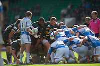 Brian Mujati (left) and Dylan Hartley of Northampton Saints prepare to scrum down during the Heineken Cup match between Northampton Saints and Glasgow Warriors  at Franklin's Gardens on Sunday 14th October 2012 (Photo by Rob Munro)
