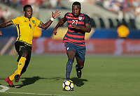 Santa Clara, CA - Wednesday July 26, 2017: Ladale Richie, Jozy Altidore during the 2017 Gold Cup Final Championship match between the men's national teams of the United States (USA) and Jamaica (JAM) at Levi's Stadium.