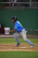 Myrtle Beach Pelicans Jose Gutierrez (34) at bat during a Carolina League game against the Potomac Nationals on August 14, 2019 at Northwest Federal Field at Pfitzner Stadium in Woodbridge, Virginia.  Potomac defeated Myrtle Beach 7-0.  (Mike Janes/Four Seam Images)